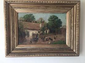 Victorian gilt framed oil painting feeding chickens