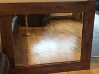 Large mahogany wood mirror size 110cm x 90cm or 43in x 35.5 inches