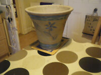Large Outdoor Glazed Plant Pot yellow and green