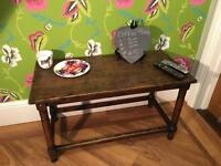 Solid oak wood wooden coffee table unit tv stand shabby chic reduced