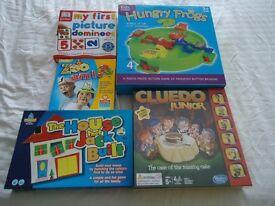 5 Kids Board Games including unopened Junior Cluedo