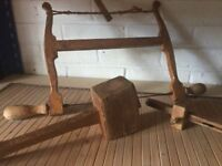 Old Vintage Carpentry Wooden Mallet, and saw and tools