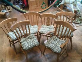 Chairs, 4 beech , 2 pine