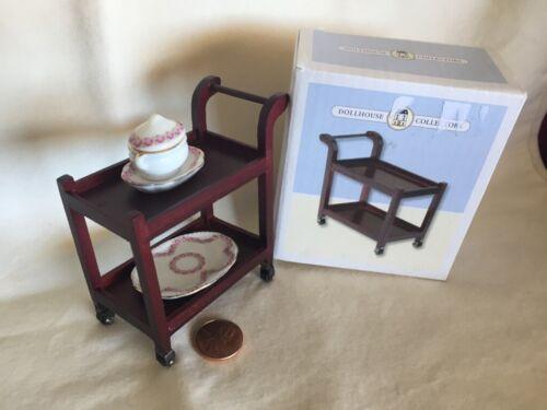 Tea Trolley Cart Dollhouse Mini 1:12 Mahogany Wood Porcelain Serving Dishes Lot