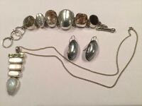 Silver and semi-precious stones jewellery set: Necklace, Bracelet and Earrings