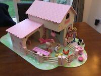 Elc early learning centre rosebud wooden dolls house farm set