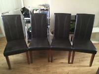 4 Brown Faux Leather Dining Chairs