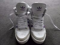 Adidas white high top trainers - size 5