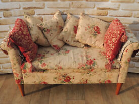 Designer Country floral bench with storage (Delivery)
