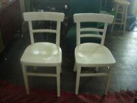 Two vintage wooden kitchen chairs painted white - charity sale