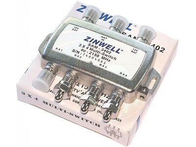 3In 4Out DirecTV Multiswitch Dish Antenna Input Zinwell SW34 Splitter