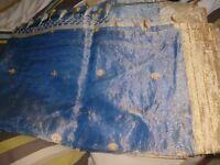 blue indian tissue sari