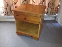 Solid Pine Bedside Cabinet, With Drawer and Underneath Storage, Bedside Table.