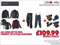 GREAT DEAL -MOTORCYCLE JACKET AND TROUSERS AND GET FREE GLOVES -TEXTILE-WATERPROOF-ARMOURED £109.99