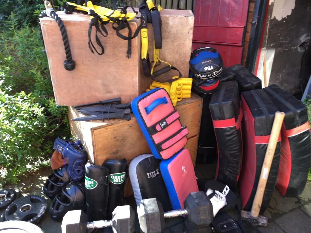 """Fitness equipment for salein County AntrimGumtree - Can be sold as a complete lot or separately Squat bag1x 20kg £40 (£40)1x TRX £10 (£10)1x ladders £25 (£25)Wooden Box 1x 24"""" £30 (£30)1x 8"""" £30 (£30)1x ab wheel £41x sledgehammer £10 (£10)Med balls2x 2kg £15 each (£30)1x 8kg £25..."""