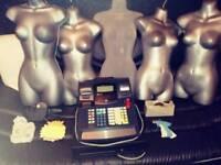 Job lot, 5 manicans, Till, various woman clothing, tagging gun +stickers, pricing gun +tags,