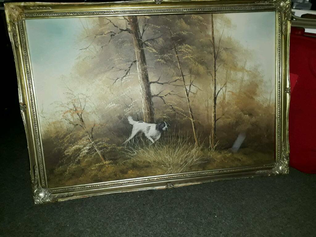 Large painting of a dog in the woods