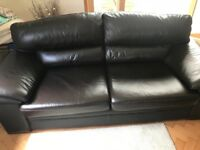 3 & 2 seater brown leather sofa with footstool