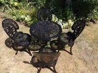 CAST ALUMINIUM GARDEN SET -- TABLE AND 4 CHAIRS --VICTORIAN STYLE --