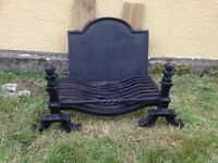 Cast Iron Antique Victorian Fire Back Including Grate and Dog Irons