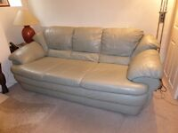 Leather Three Piece Suite 3 Seater 2 Seater Settees & Footstool