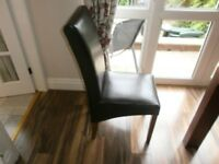 6 dark brown leather dinning room chairs,