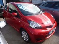 Toyota AYGO Ice VVTI,3 dr hatchback,metallic red,full MOT,full suede/leather black interior,YY61EHT
