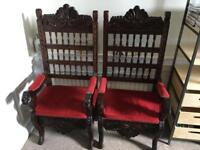 Solid Antique Throne Chairs