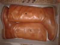 Gorgeous Pair of 'Riva' Cognac/Tan Leather&Sheepskin Boots.Size 41(7-7.5)New in Box