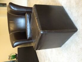 Brown Leather Tub Chair, plus matching foot stool in good condition.