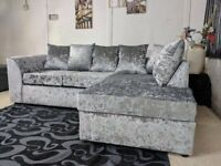 SPECIAL OFFER: BRAND NEW JULIE CRUSH VELVET CORNER SOFA AT A REDUCED PRICE WITH EXPRESS DELIVERY!!!