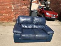Blue leather 2 seater sofa