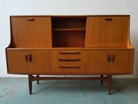 G PLAN TEAK FRESCO HIGHBOARD RETRO SIDEBOARD STORAGE UNIT G-PLAN DRINKS VINTAGE CABINET CAN DELIVER