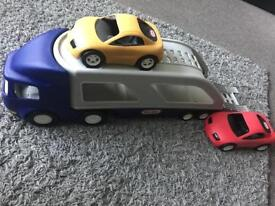 Little tikes large car transporter with two cars