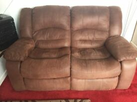 Quality Soft leather 2 seater recliner sofa with stain resistant coating