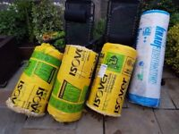 5 rolls of fibreglass insulation 1x 100mm roll 4x 2/3 of 100mm roll