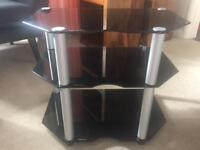 Three tier tv stand black tempered glass
