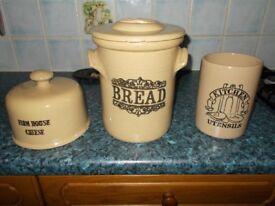 3 piece kitchen stoneware set