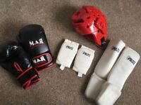 Kids kckboxing items 8oz boxing gloves shin guards and head shield in good condition
