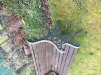 garden bench with metal framing