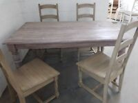 NEW assembled limed oak dining table + 4 chairs RRP £1099