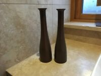 Pair of taupe coloured slim and tall vases
