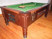 SLATE BED POOL TABLE 7ft x 4ft POOL & SNOOKER BALLS, SCORE BOARDS, CUE RACK, BRIDGE, SPIDER & CUES
