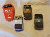 4 Guitar Pedals - 3 x Behringer, 1 x Ashton - Tuner, Blues Overdrive, Flanger, Acoustic Modeller