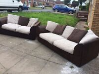 3 + 2 cord and leather sofas in very good condition // free delivery