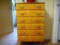 Stunning Vintage High Gloss Wooden Retro Chest of 6 Drawers from clean, pet & smoke free home