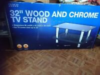 Wood and Chrome TV stand