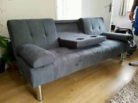 Grey double sofabed with armrest and 2 cup holders, used twice
