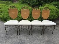 GLASS TOP WROUGHT IRON DINING TABLE & 4 CHAIRS