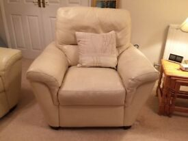 Three piece suite in cream leather. High quality from Leekes. Immaculate. Cushions included. Sofa